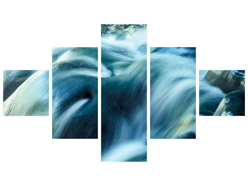 Metallic-Bild 5-teilig Das Fliessende Wasser