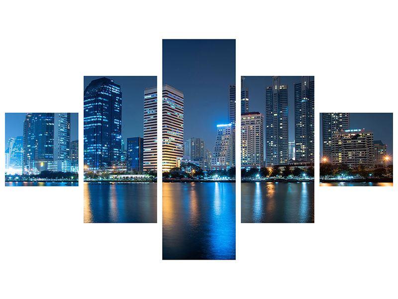 Metallic-Bild 5-teilig Skyline Bangkok bei Nacht