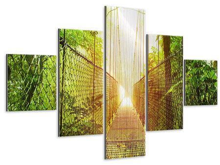 Metallic-Bild 5-teilig Hängebrücke