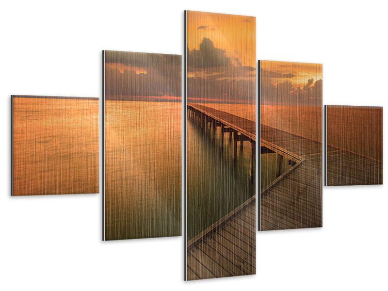 Metallic-Bild 5-teilig Der Steg am Meer