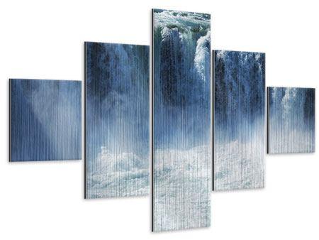 Metallic-Bild 5-teilig Mächtiger Wasserfall