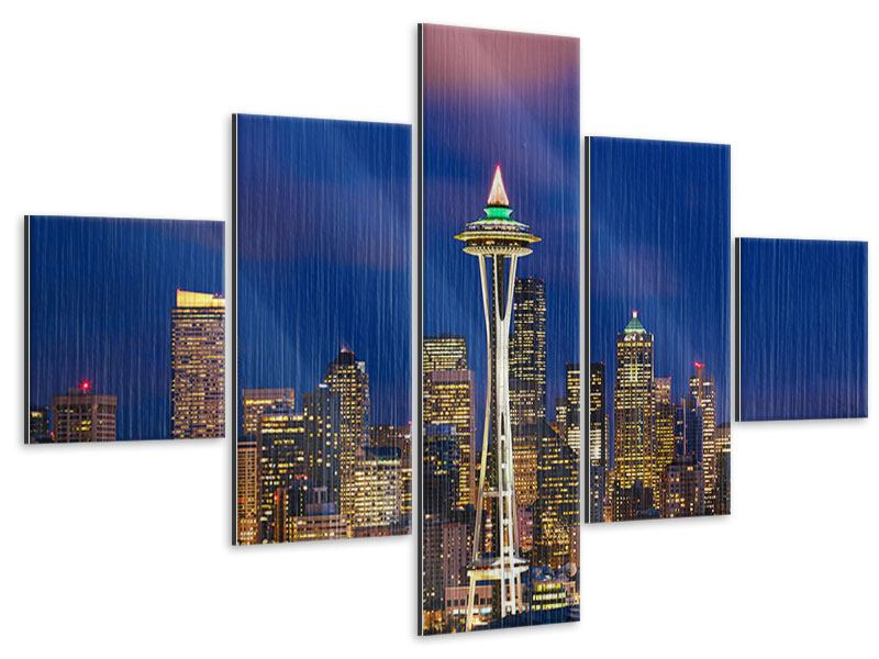 Metallic-Bild 5-teilig Skyline Seattle