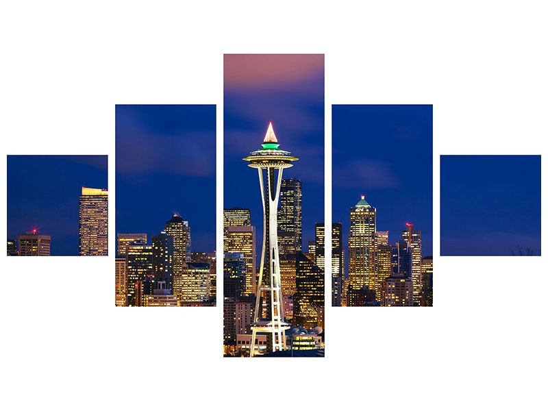 Metallic-Bild 5-teilig Skyline Seattle