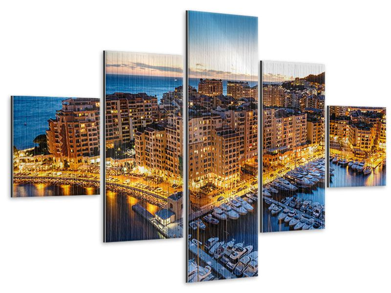 Metallic-Bild 5-teilig Monaco