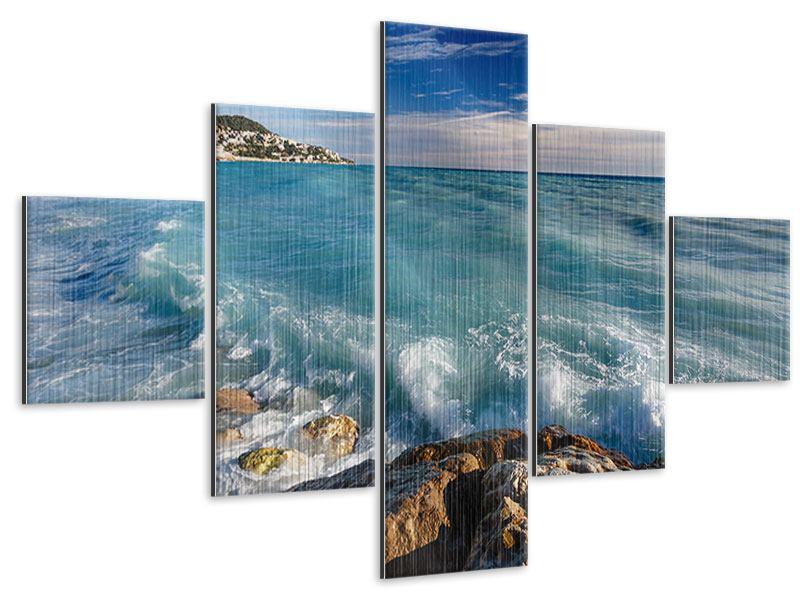 Metallic-Bild 5-teilig Cote D`Azur