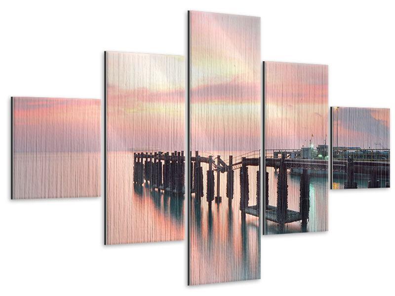 Metallic-Bild 5-teilig Der beruhigende Sonnenuntergang