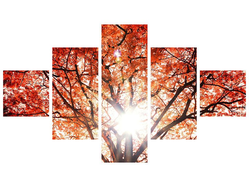 Metallic-Bild 5-teilig Herbstlicht