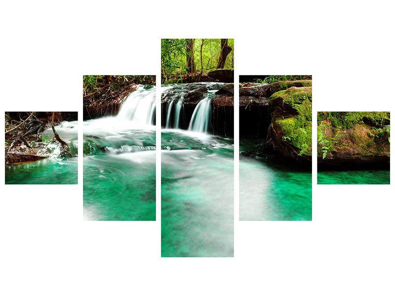 Metallic-Bild 5-teilig Der Fluss am Wasserfall