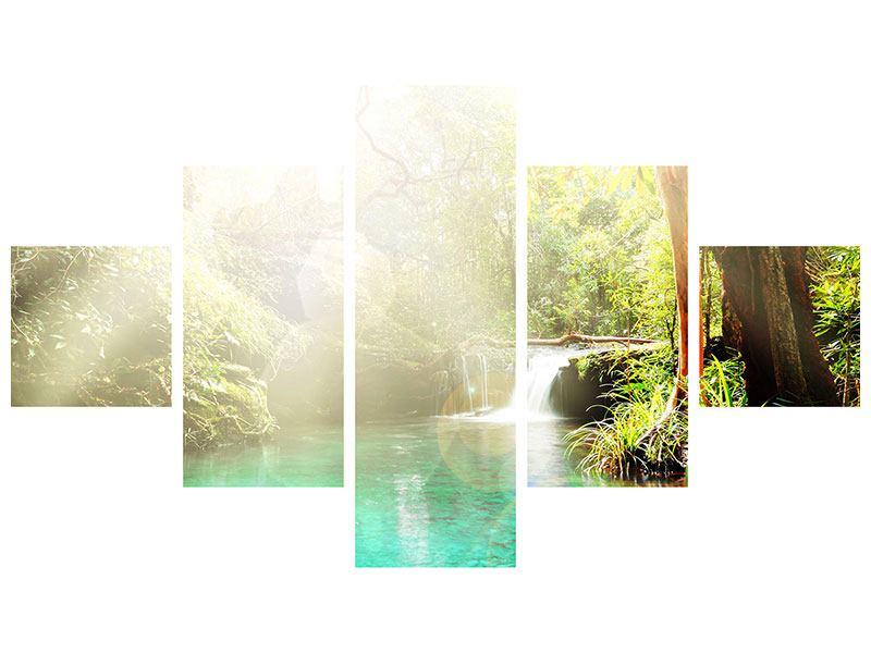 Metallic-Bild 5-teilig Die grüne Lagune