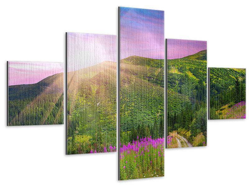 Metallic-Bild 5-teilig Eine Sommerlandschaft bei Sonnenaufgang