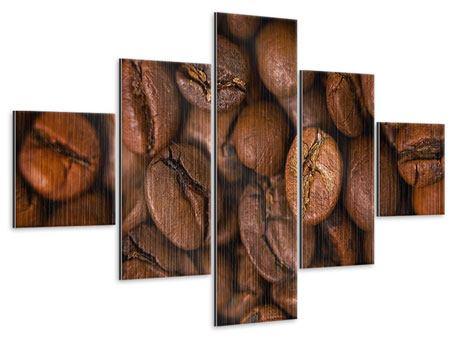 Metallic-Bild 5-teilig Close Up Kaffeebohnen