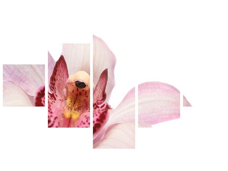 Metallic-Bild 5-teilig Orchideenblüte XXL