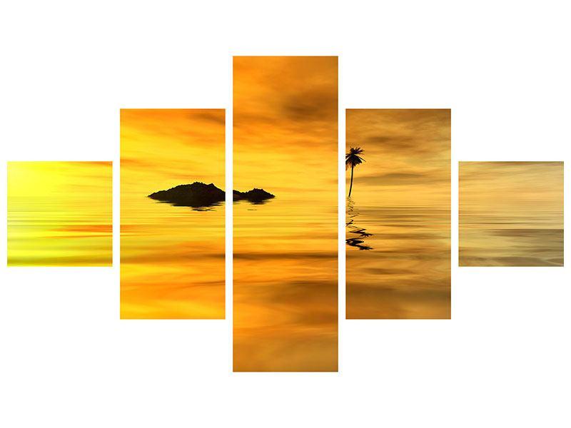 Metallic-Bild 5-teilig Ab auf die Insel