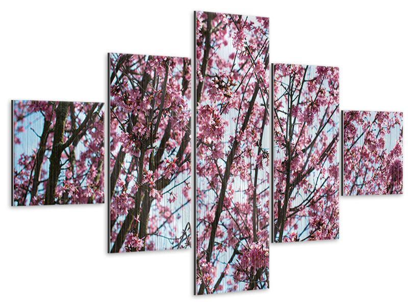 Metallic-Bild 5-teilig Japanische Blütenkirsche