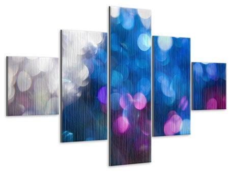 Metallic-Bild 5-teilig Abstraktes Licht