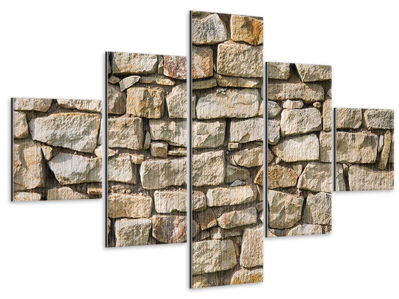 Metallic-Bild 5-teilig Natursteine