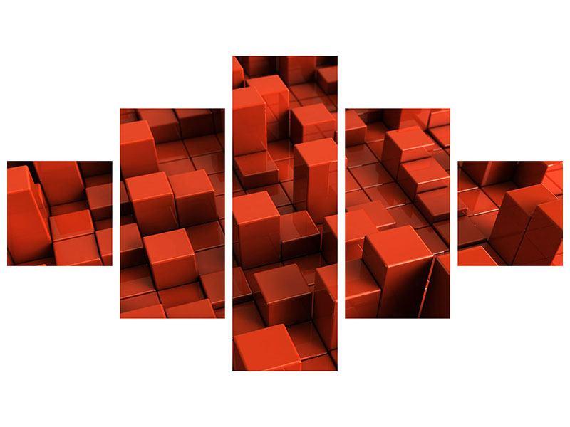 Metallic-Bild 5-teilig 3D-Rechtkant