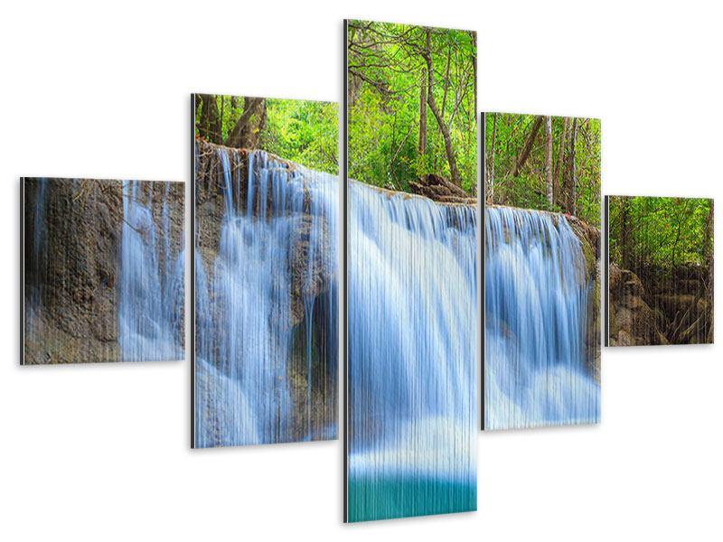 Metallic-Bild 5-teilig Wasserfall Si Nakharin