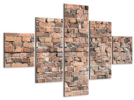 Metallic-Bild 5-teilig Alte Backsteinmauer