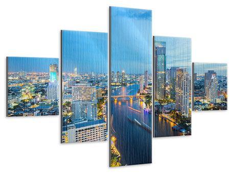 Metallic-Bild 5-teilig Skyline Bangkok in der Abenddämmerung