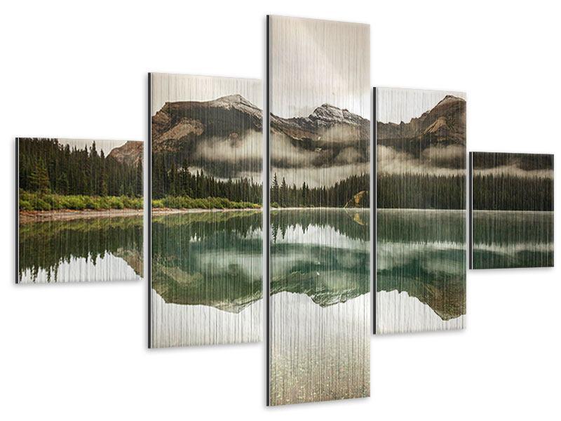 Metallic-Bild 5-teilig Spiegelung im Glacier Nationalpark