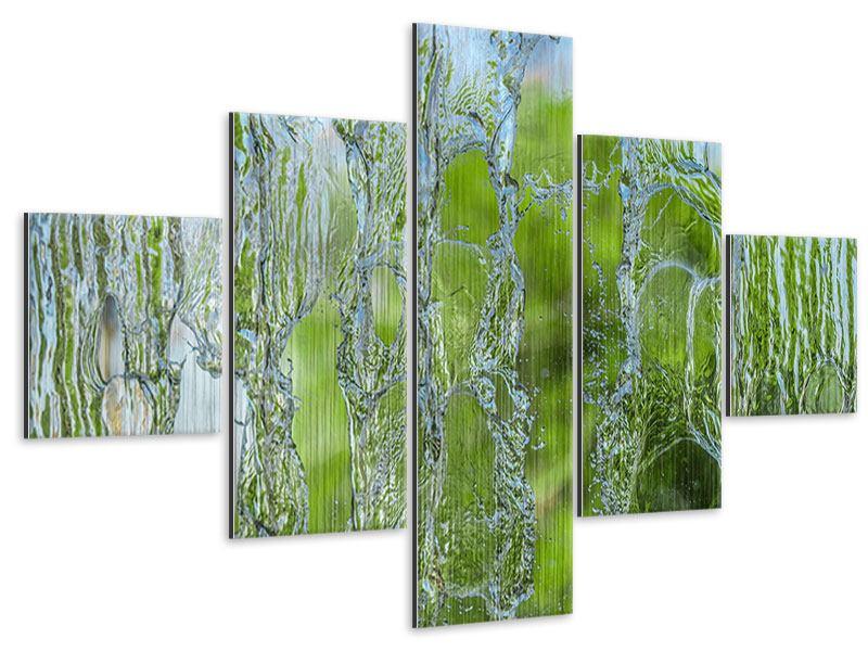 Metallic-Bild 5-teilig Hinter dem Wasserfall