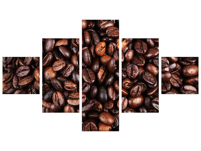Metallic-Bild 5-teilig Kaffeebohnen in XXL