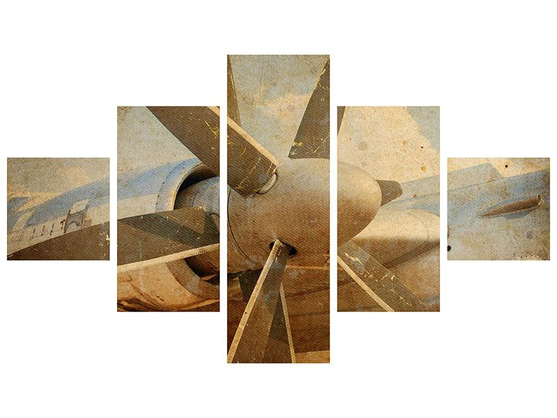 Metallic-Bild 5-teilig Propellerflugzeug im Grungestil