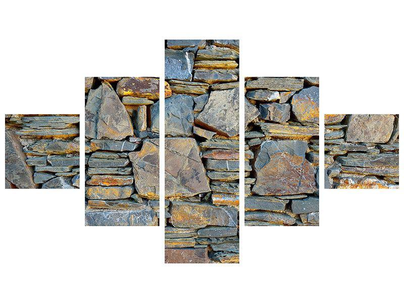 Metallic-Bild 5-teilig Natürliche Steinmauer