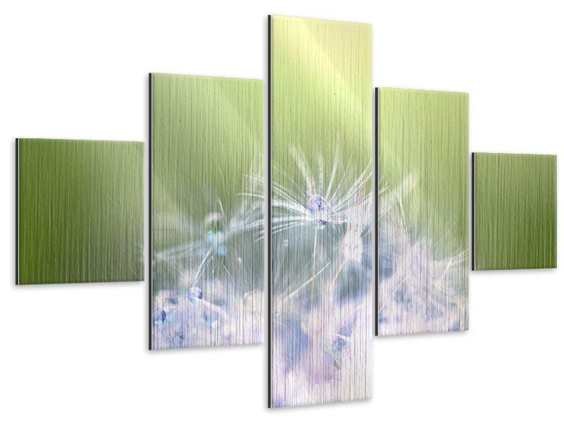 Metallic-Bild 5-teilig Pusteblume XL im Morgentau