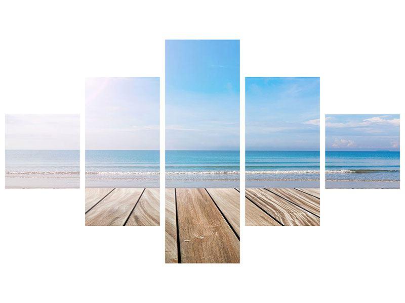 Metallic-Bild 5-teilig Das schöne Strandhaus