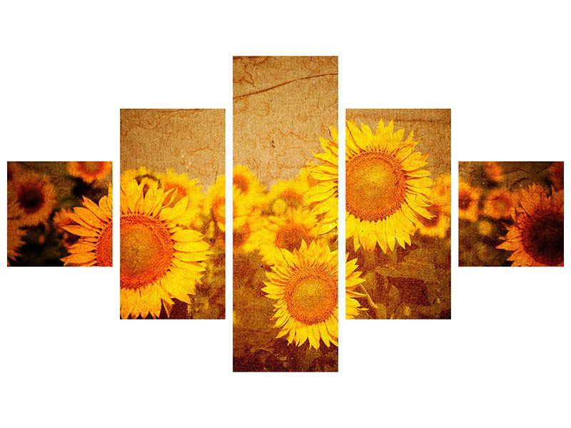 Metallic-Bild 5-teilig Retro-Sonnenblumen