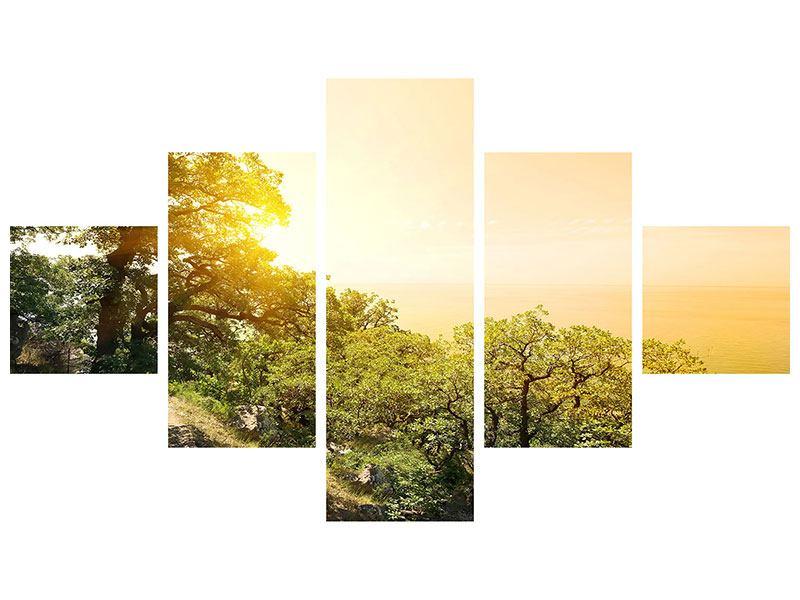 Metallic-Bild 5-teilig Sonnenuntergang in der Natur
