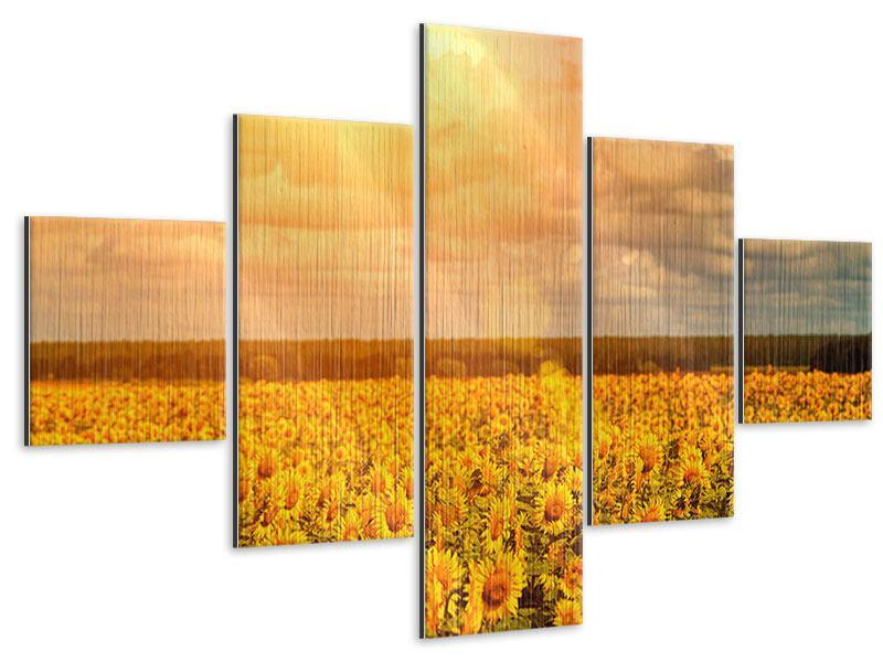 Metallic-Bild 5-teilig Goldenes Licht für Sonnenblumen
