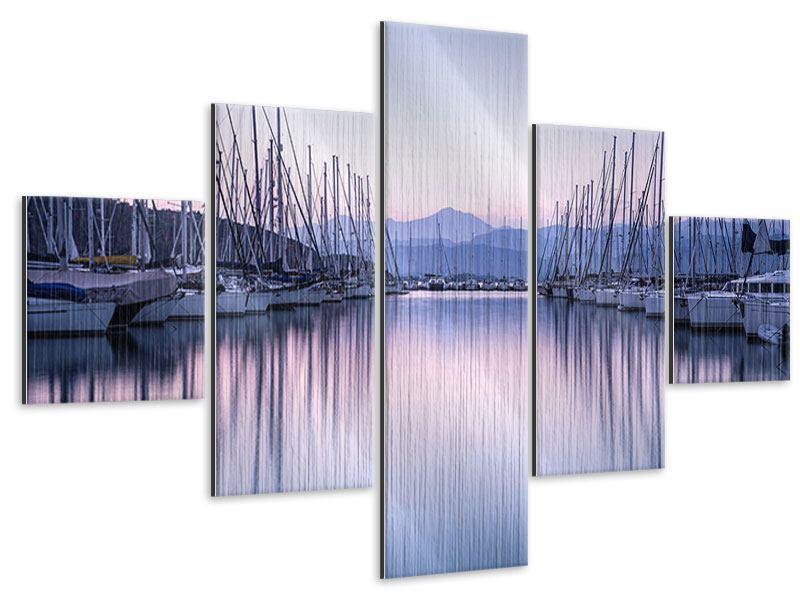 Metallic-Bild 5-teilig Yachthafen