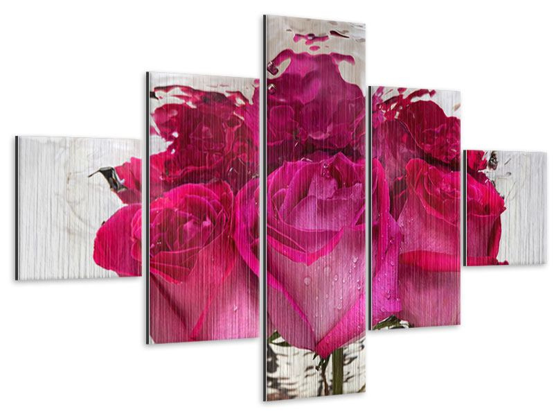 Metallic-Bild 5-teilig Die Rosenspiegelung