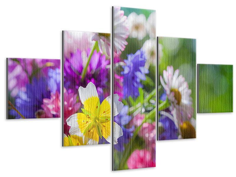 Metallic-Bild 5-teilig XXL Gartenblumen