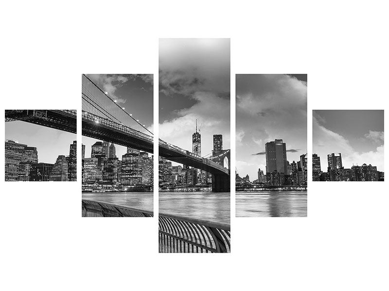 Metallic-Bild 5-teilig Skyline Schwarzweissfotografie Brooklyn Bridge NY