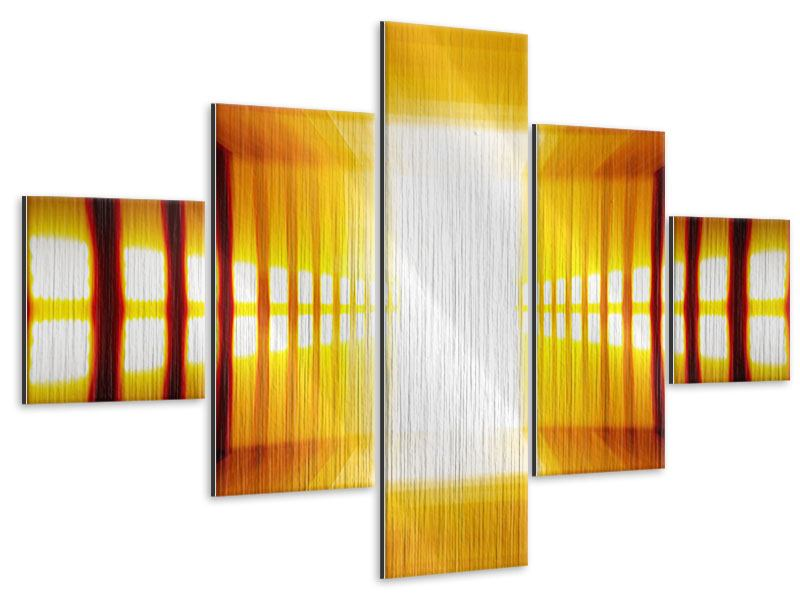 Metallic-Bild 5-teilig Abstrakter Goldener Raum