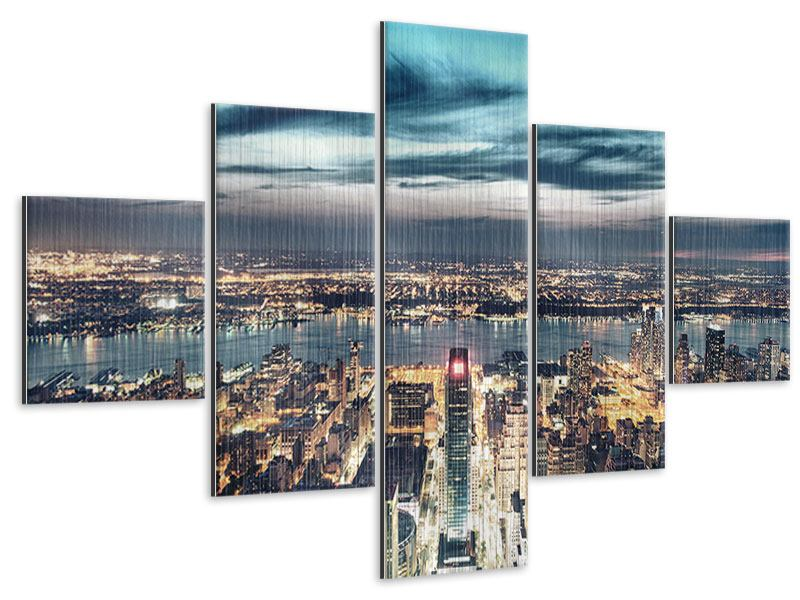 Metallic-Bild 5-teilig Skyline Manhattan Citylights