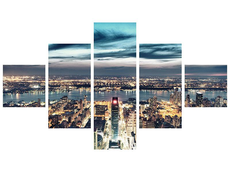 Metallic-Bild 5-teilig Skyline Manhattan Citylights