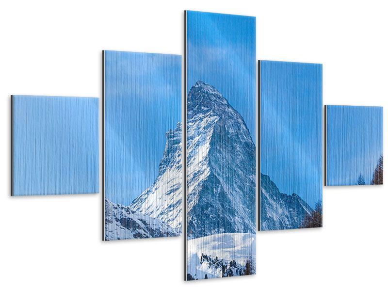 Metallic-Bild 5-teilig Das majestätische Matterhorn