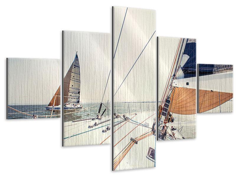 Metallic-Bild 5-teilig Segelyacht