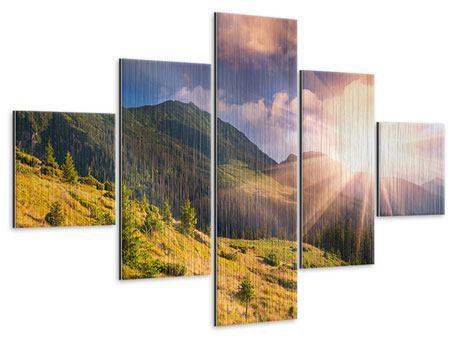 Metallic-Bild 5-teilig Herbstanfang