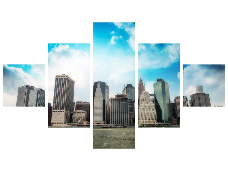 Metallic-Bild 5-teilig Skyline Lower Manhattan