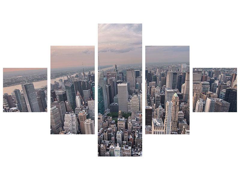Metallic-Bild 5-teilig Skyline Blick über Manhattan