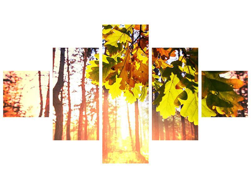 Metallic-Bild 5-teilig Herbst