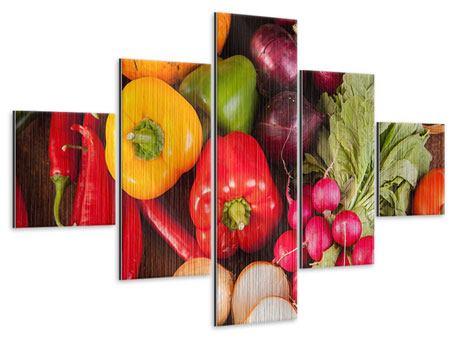Metallic-Bild 5-teilig Gemüsefrische
