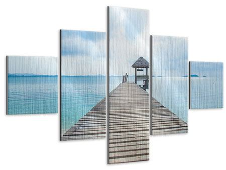 Metallic-Bild 5-teilig Ozean-Steg