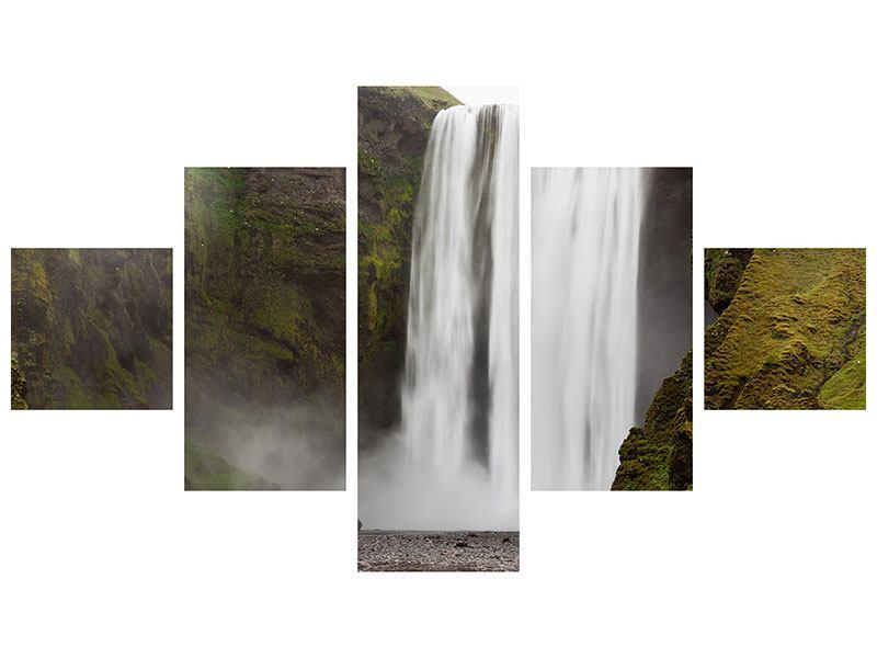 Metallic-Bild 5-teilig Skogafoss